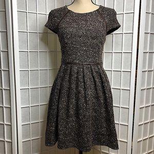 TIBI Brown Tweed Leather Trim Fit & Flare Dress